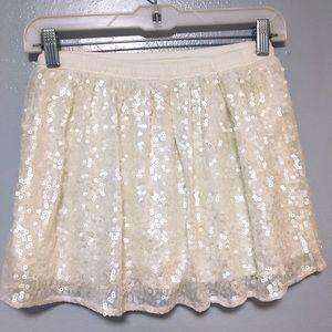 HOLLISTER Embellished Sequin Shine Ivory Skirt